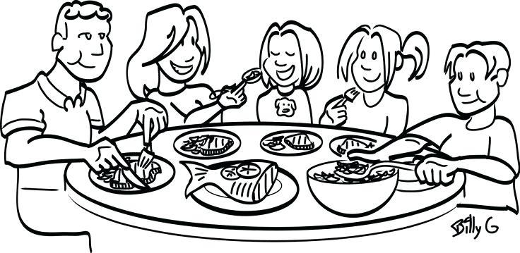 Breakfast lunch dinner clipart black and white