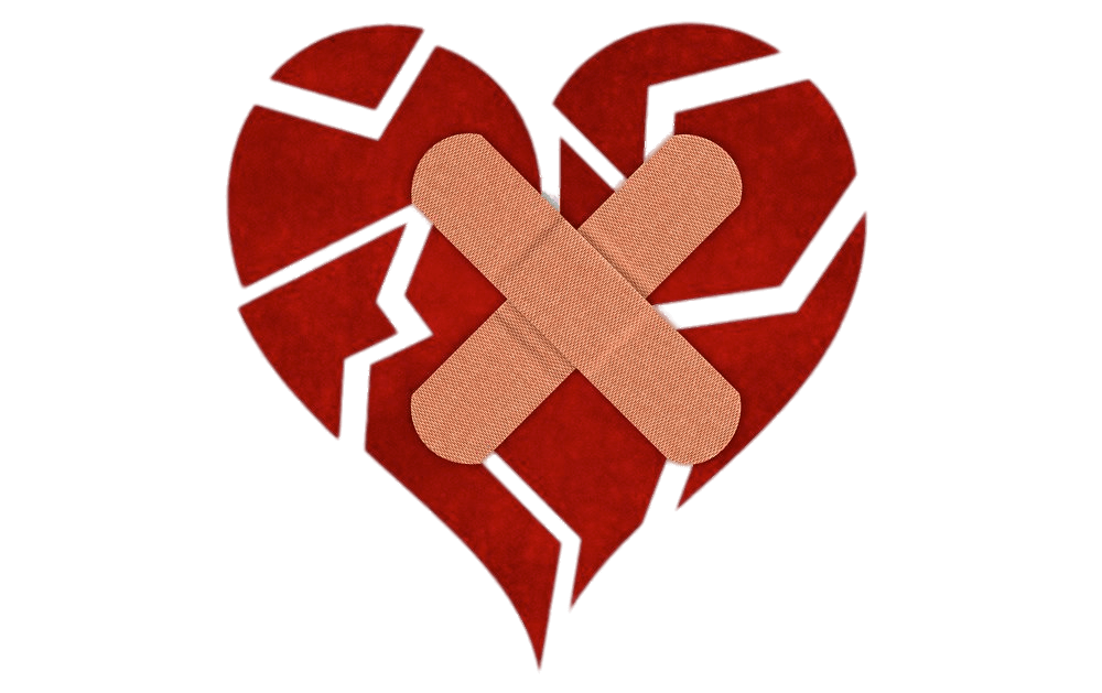 Breaking heart clipart image black and white stock Fragmented Heart With Bandaids transparent PNG - StickPNG image black and white stock