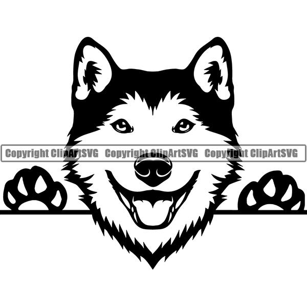 Breed clipart svg transparent library Siberian Husky Peeking Dog Breed ClipArt SVG svg transparent library