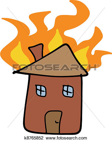 Brennendes haus clipart. Of home fire k