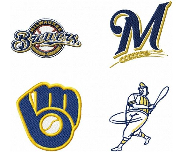 Brewers jersey clipart picture freeuse Milwaukee Brewers logo machine embroidery design for instant ... picture freeuse