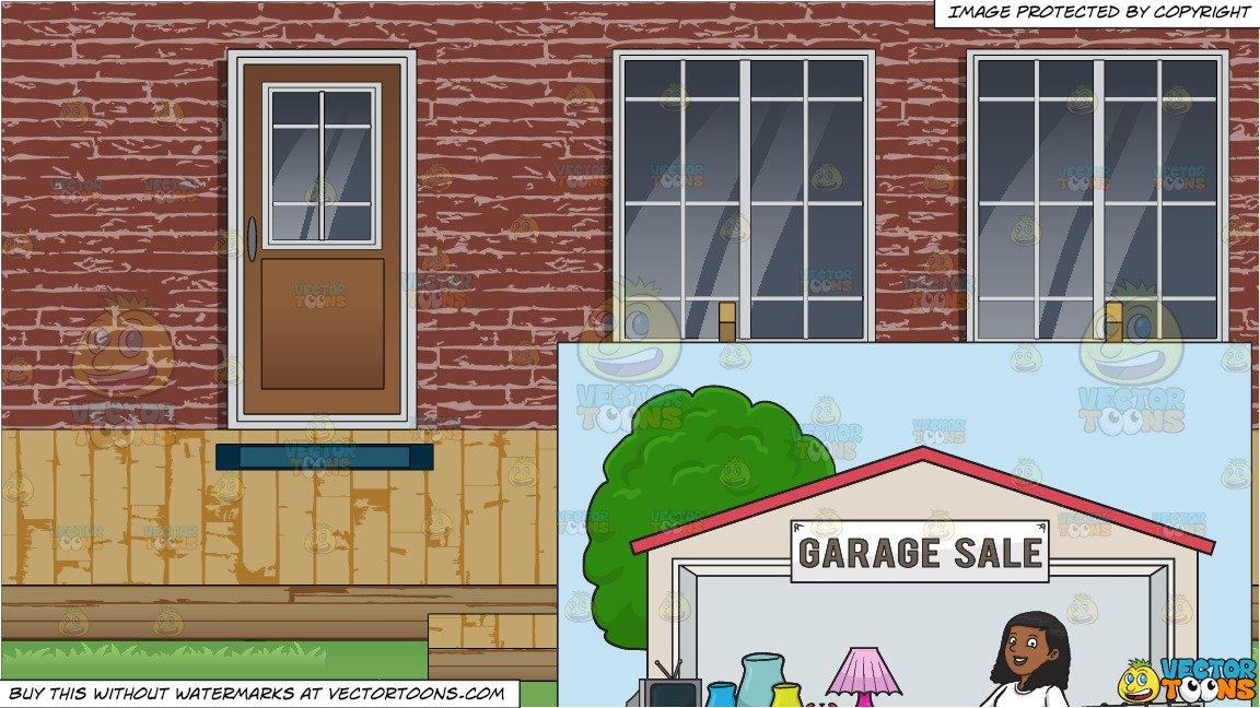 Brick foundation house and garage clipart jpg A Black Woman Volunteer Having A Garage Sale and A Backyard Deck Background jpg