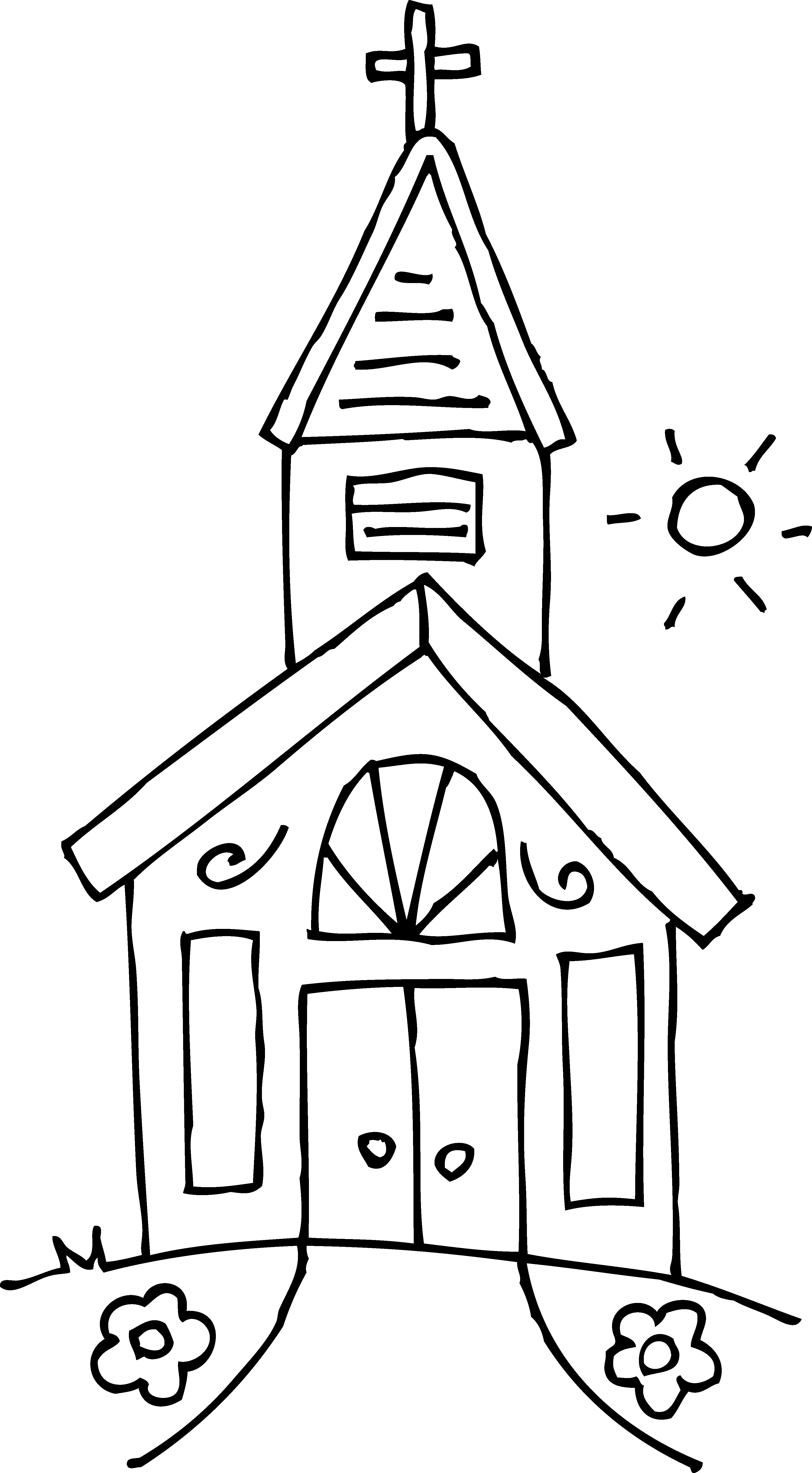 Brick house clipart black and white banner Small church house clipart - Clip Art Library banner