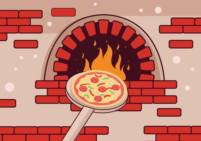 Brick oven pizza clipart