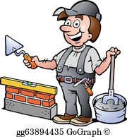 Bricklayer clipart clip library Bricklayer Clip Art - Royalty Free - GoGraph clip library