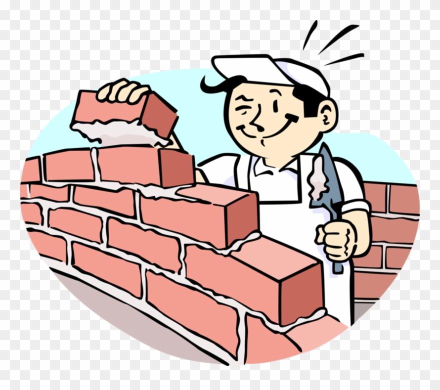 Bricklayer clipart image library download Vector Illustration Of Mason Bricklayer Builds Masonry - Cartoon ... image library download