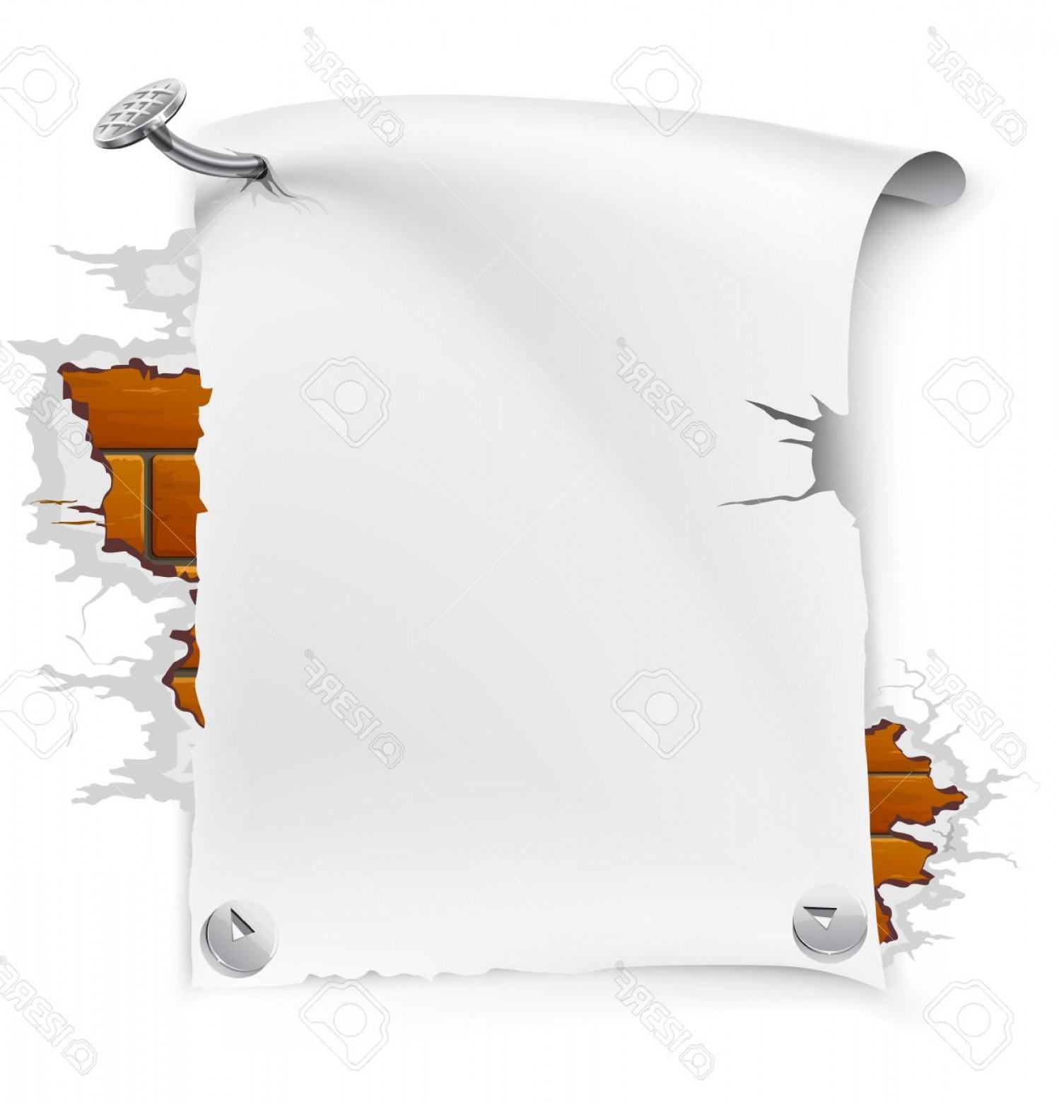 Bricks clipart sheets vector freeuse stock Photovector Illustration Of Blank Paper Sheet Nailed By Nail To ... vector freeuse stock