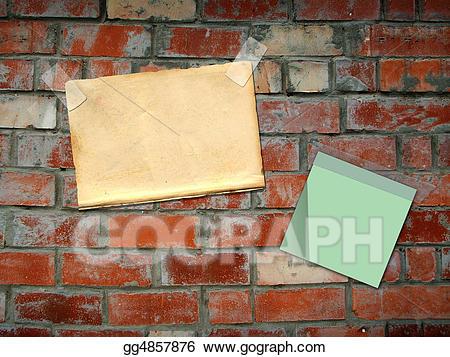 Bricks clipart sheets clip art royalty free Clipart - Sheets paper, hanging on a brick wall. Stock Illustration ... clip art royalty free