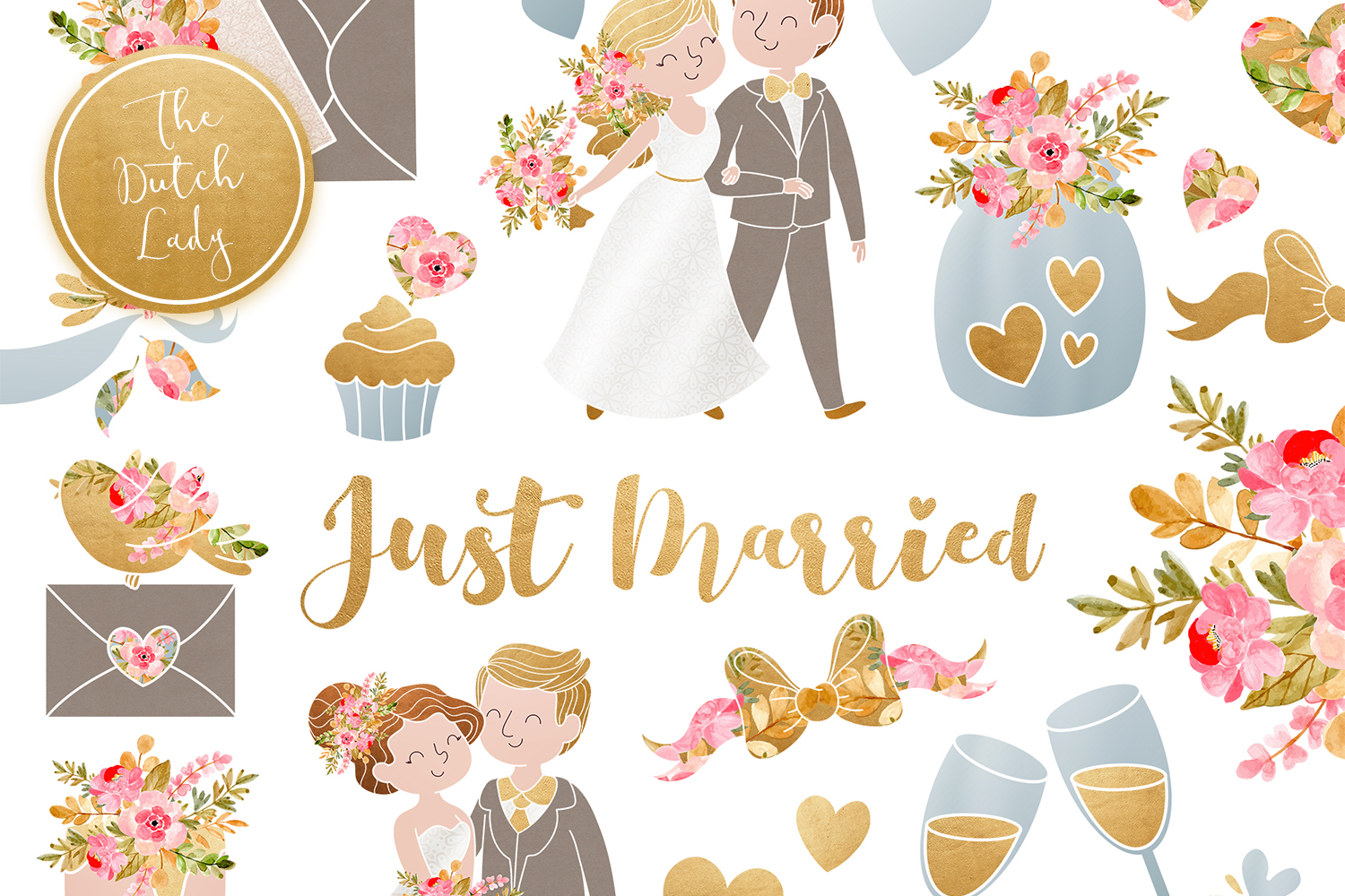 Wedding day clipart jpg freeuse library Wedding Day & Marriage Clipart Set - Vsual jpg freeuse library