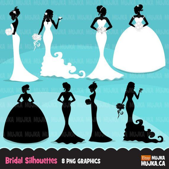Bridal craft clipart clip transparent library Wedding bridal clipart. Bride silhouette, fashion illustration ... clip transparent library