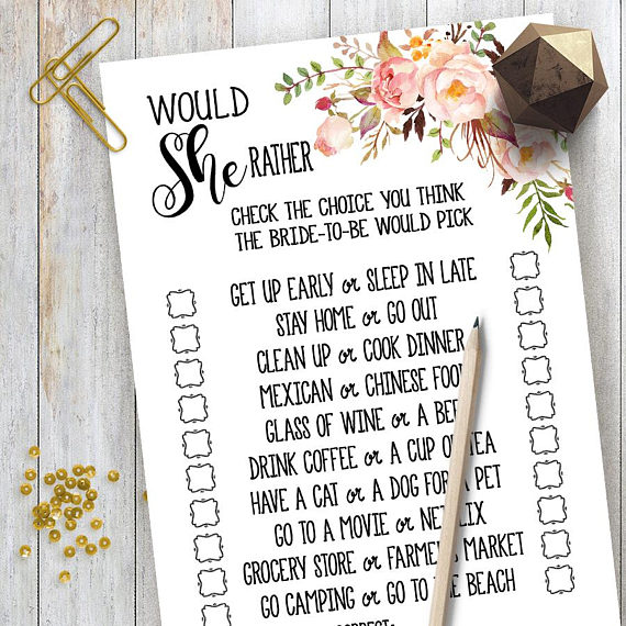 Bridal game clipart banner stock Would She Rather Game Bridal Shower game printable Wedding shower ... banner stock