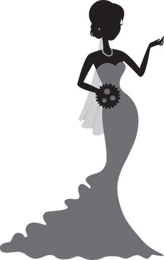 Bridal gown silhouette clipart jpg black and white stock Bridal shower bridal gown silhouettes clipart – Gclipart.com jpg black and white stock