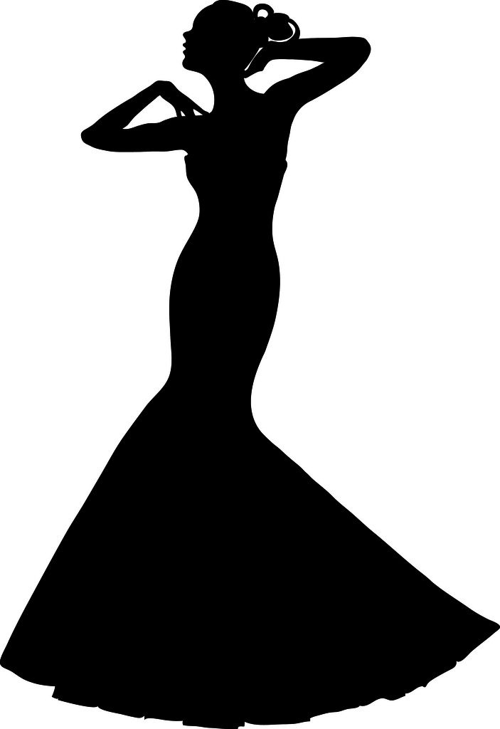 Bridal gown silhouette clipart banner royalty free download Clip Art Illustration of a Spring Bride in a Strapless Gown ... banner royalty free download