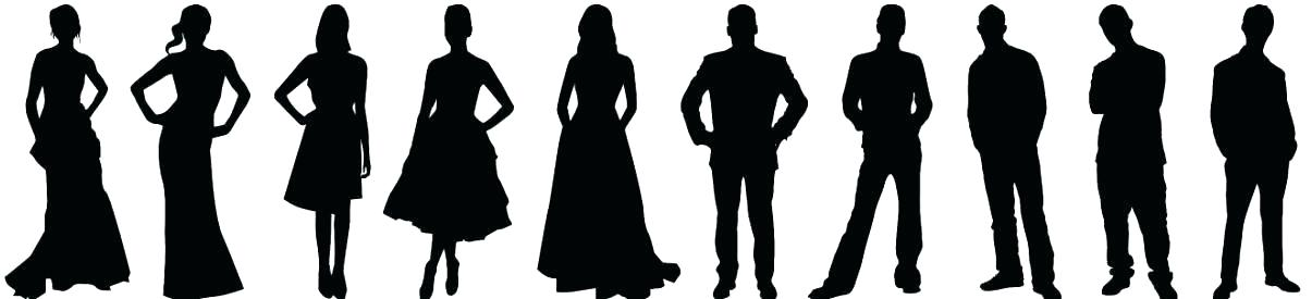 Bridal party silhouette clipart picture black and white stock wedding party silhouette template picture black and white stock