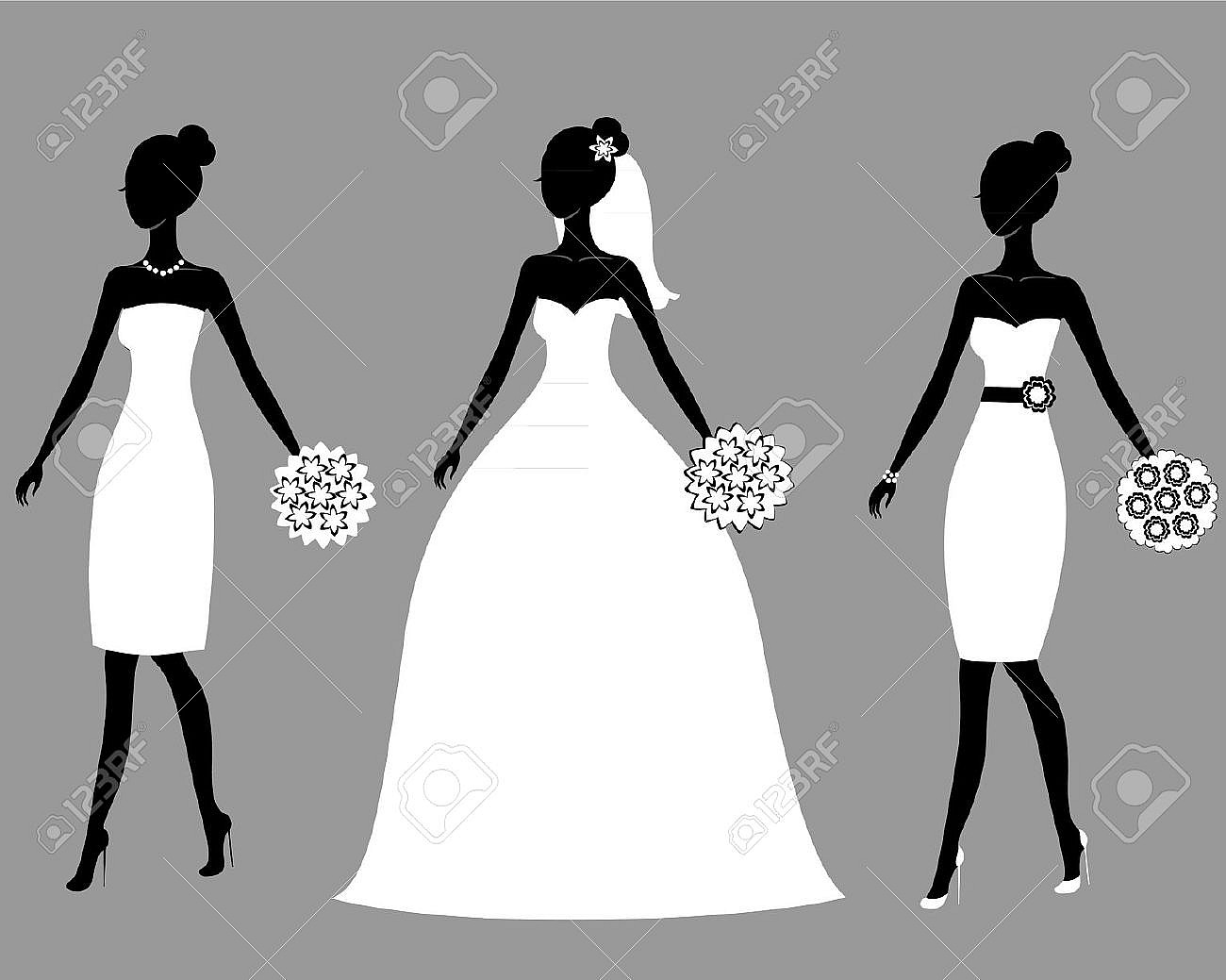 Bridal party silhouette clipart freeuse library Silhouette Clipart Bridal Party Pencil And In Color Clip Art ... freeuse library