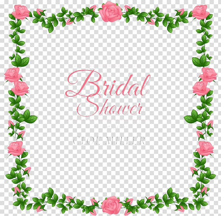 Bridal shower border clipart svg transparent library Pink flowers illustration with text overlay, Wedding invitation ... svg transparent library