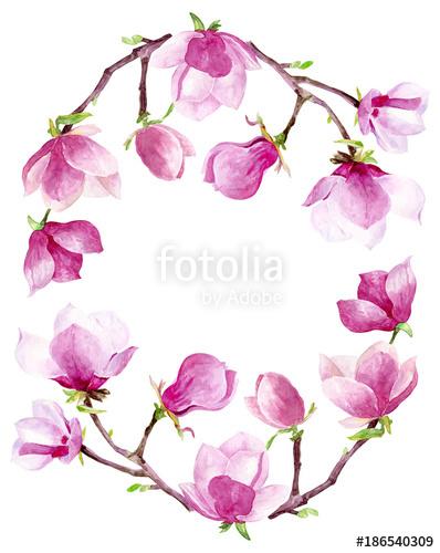 Bridal shower border clipart jpg freeuse stock Magnolia watercolor wreath floral frame border wedding invitation ... jpg freeuse stock