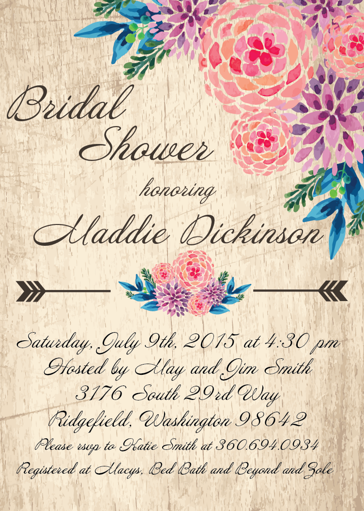 Bridal shower flower clipart picture download Flower Bridal Shower Invite / Bohemian Wedding Invitation / Rustic ... picture download