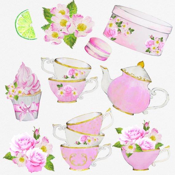 Bridal tea clipart png royalty free library Watercolor Tea Party ClipArt Teacup Teapot Bridal Shower Invitation ... png royalty free library