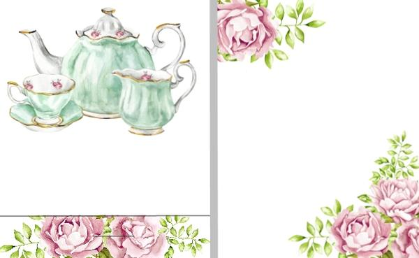 Bridal tea clipart png library library Tea Party Baby or Bridal Shower Wedding or Anniversary Mint Favors png library library