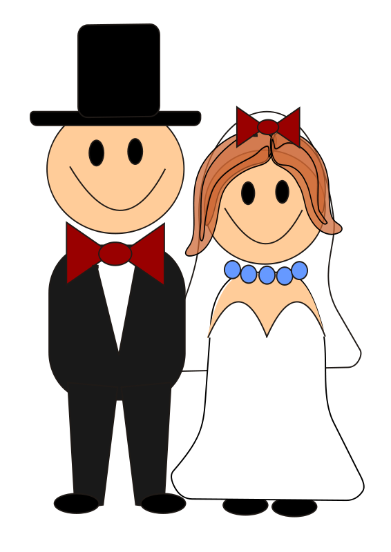 Halloween wedding clipart clipart freeuse download Bride and Groom Graphics Free | this cute clip art of a cartoon ... clipart freeuse download