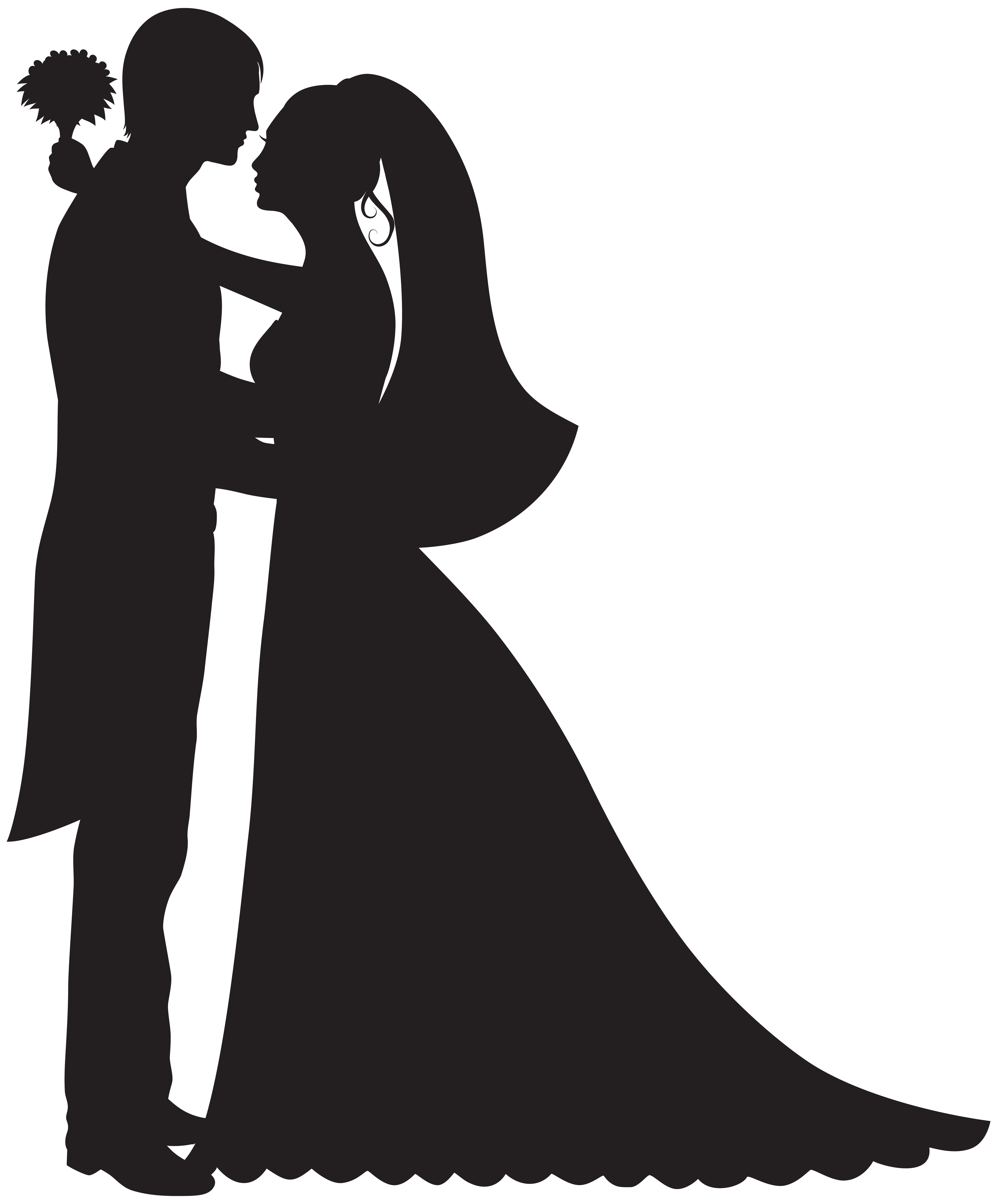 Bride and flower girl clipart svg free stock Wedding Dress Silhouette Clip Art at GetDrawings.com | Free for ... svg free stock