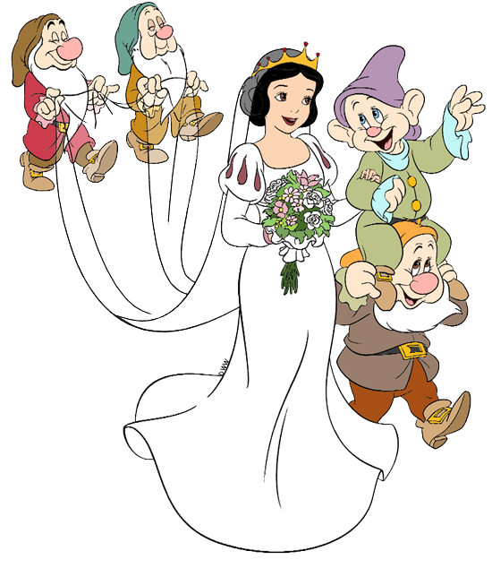 Bride and flower girl clipart banner transparent Snow White with Dwarfs Clip Art | Disney Clip Art Galore banner transparent