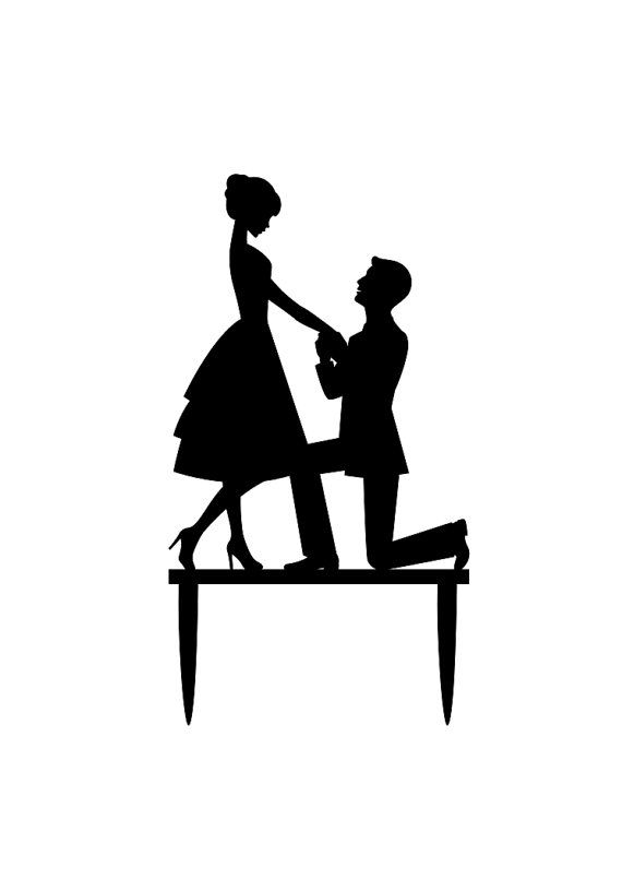 Bride and groom cake clipart black and white svg black and white Bride and Groom Cake Topper Proposal Wedding Cake by BranandTabs ... svg black and white