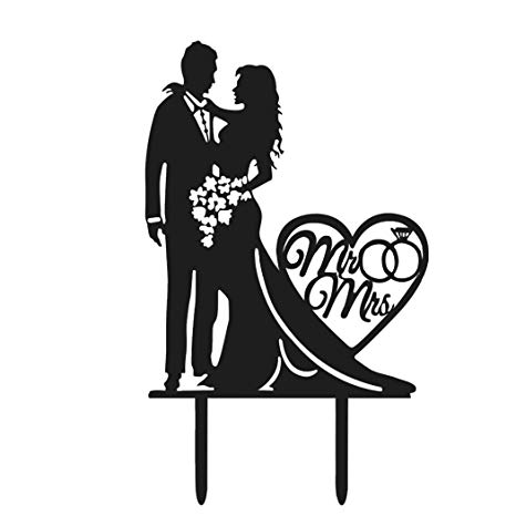 Bride and groom cake clipart black and white clipart library stock Buy Coxeer Wedding Cake Topper Acrylic Cake Topper Creative Bride ... clipart library stock