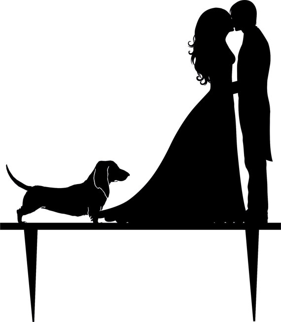 Bride and groom cake clipart black and white clip art freeuse download Wedding Cake Topper Silhouette Groom And Bride, Acrylic Cake Topper ... clip art freeuse download