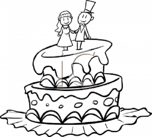 Bride and groom cake clipart black and white vector stock Best Wedding Cake Clip Art #17144 - Clipartion.com vector stock