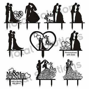 Bride and groom cake clipart black and white svg royalty free stock Details about Mr & Mrs Wedding Cake Topper Decoration - Bride and Groom -  Black Silhouette svg royalty free stock
