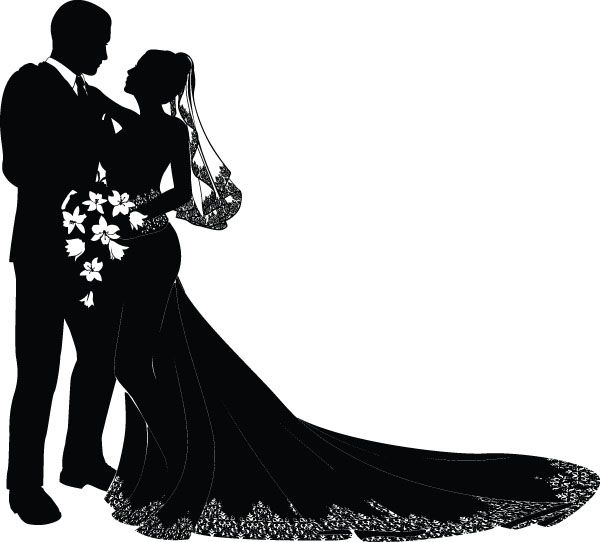 Bride and groom clipart blush & mint clipart image black and white free vector Bride and groom vector | Engraving | Wedding silhouette ... image black and white
