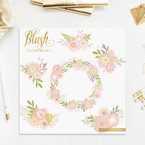 Bride and groom clipart blush & mint clipart clipart black and white stock Blush Pink Spring Flowers ClipArt Intant Download Digital High ... clipart black and white stock