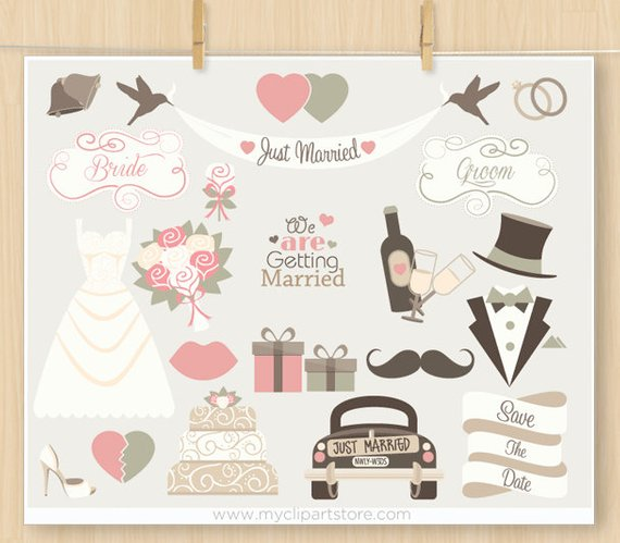 Bride and groom clipart blush & mint clipart clip art transparent download Wedding Bells Clipart, Vintage Wedding, Hipster, wedding car, bride ... clip art transparent download