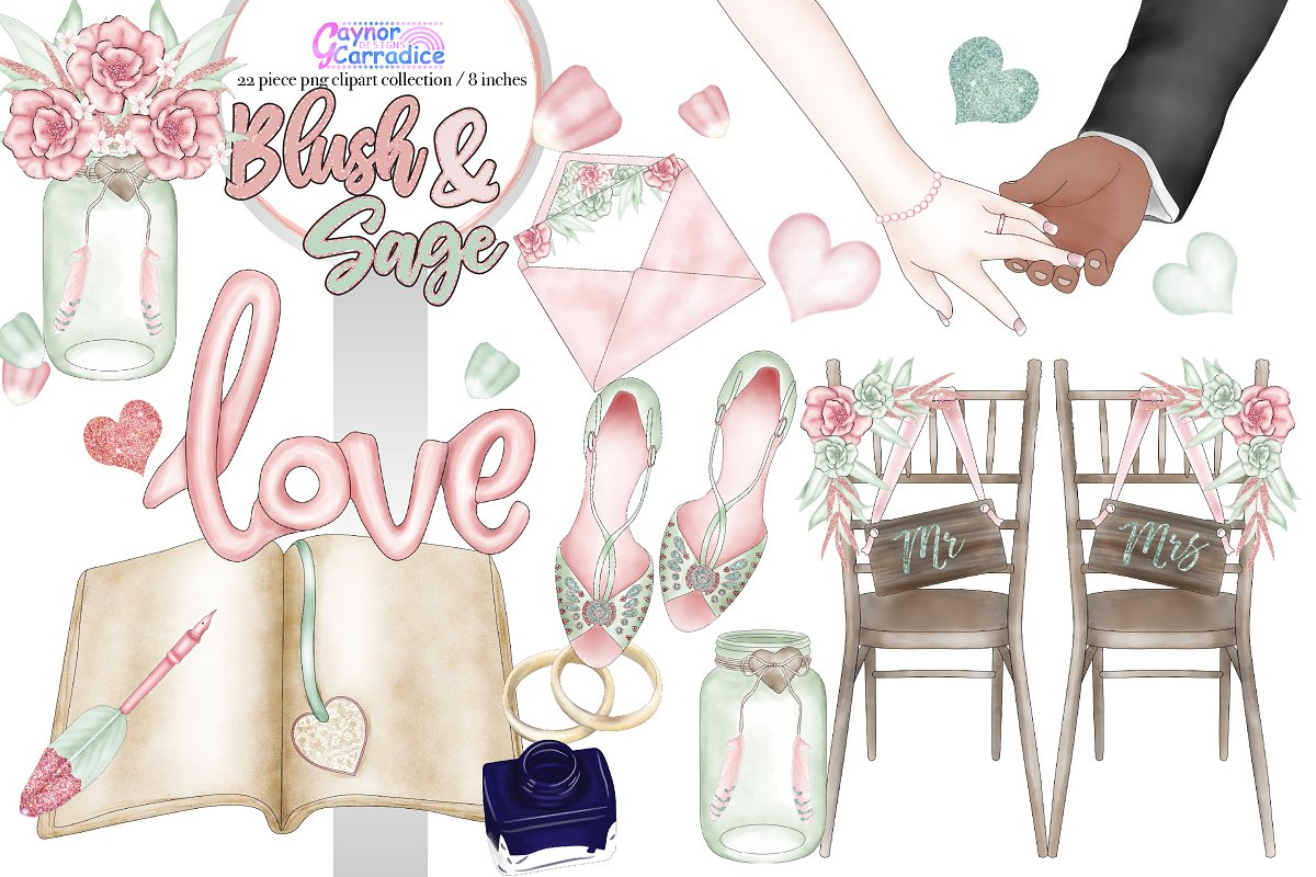 Bride and groom clipart blush & mint clipart royalty free library Boho Wedding Clipart 2 ~ Illustrations ~ Creative Market royalty free library