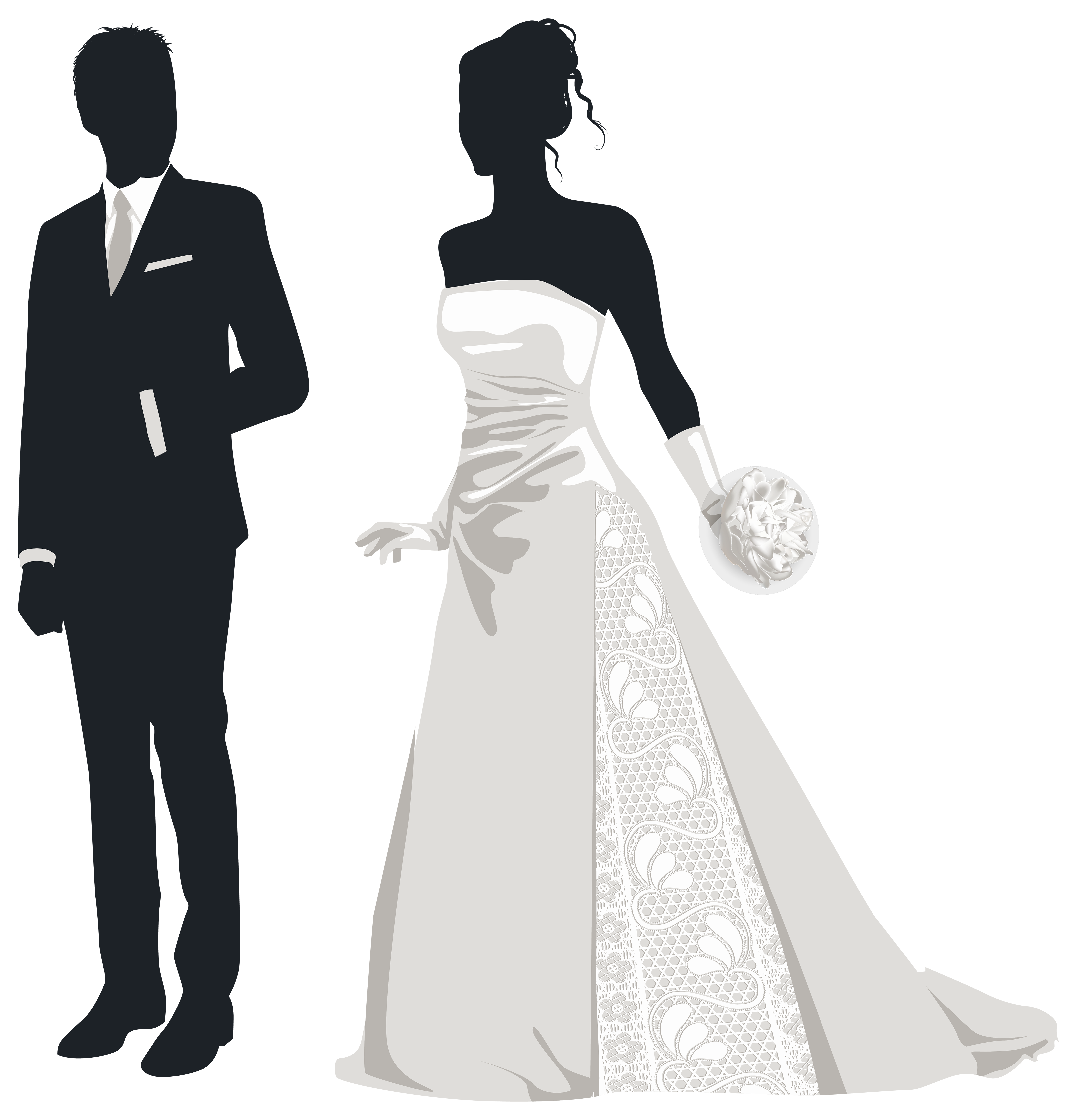 Bride and groom clipart silhouette vector Bride and Groom Silhouettes PNG Clip Art - Best WEB Clipart vector