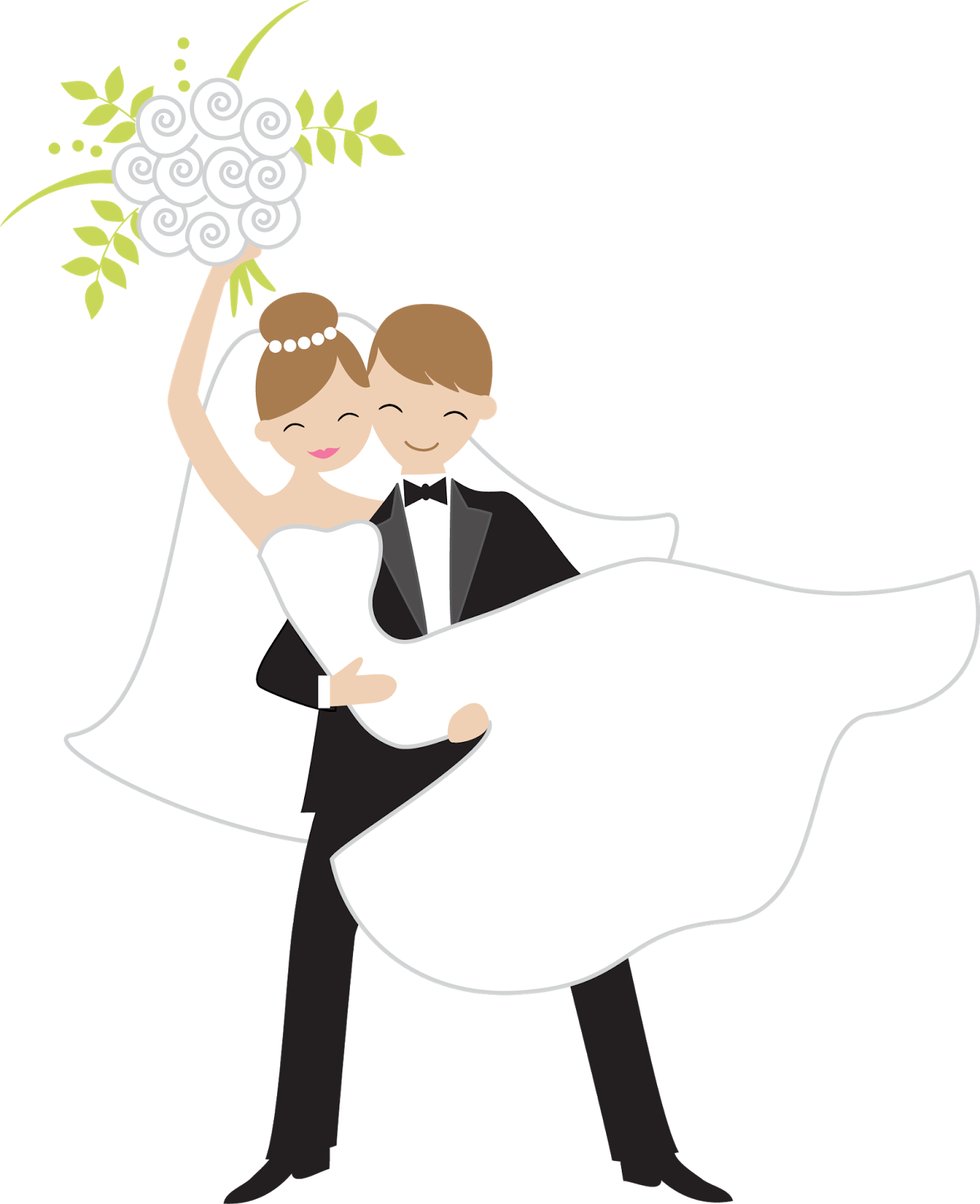 Bride and groom coloring book clipart vector library library Bride Throwing the Bouquet: Free Scrapbooking Images. | art ... vector library library