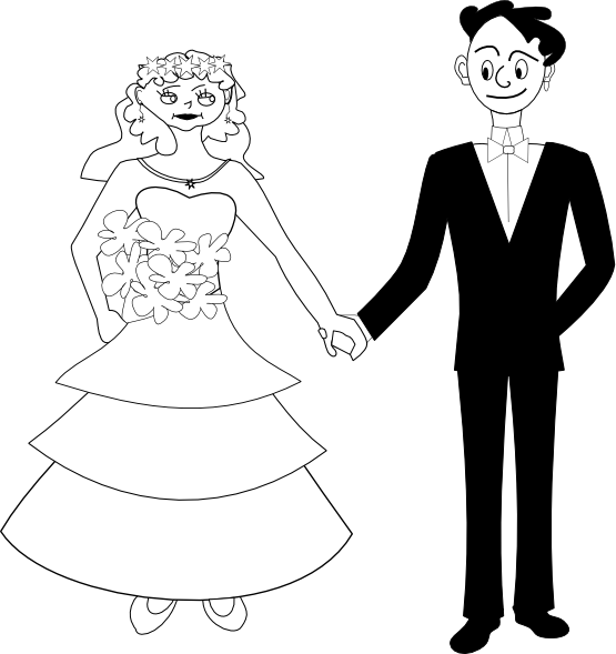 Bride and groom coloring book clipart svg royalty free download clipartist.net » Clip Art » bride and groom black white line art SVG svg royalty free download