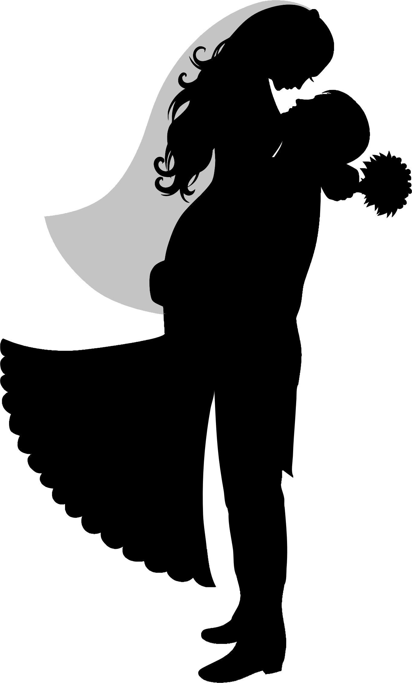 Bride and groom silhouette free clipart graphic Unique Bride And Groom Silhouette Clip Art Photos » Free Vector Art ... graphic