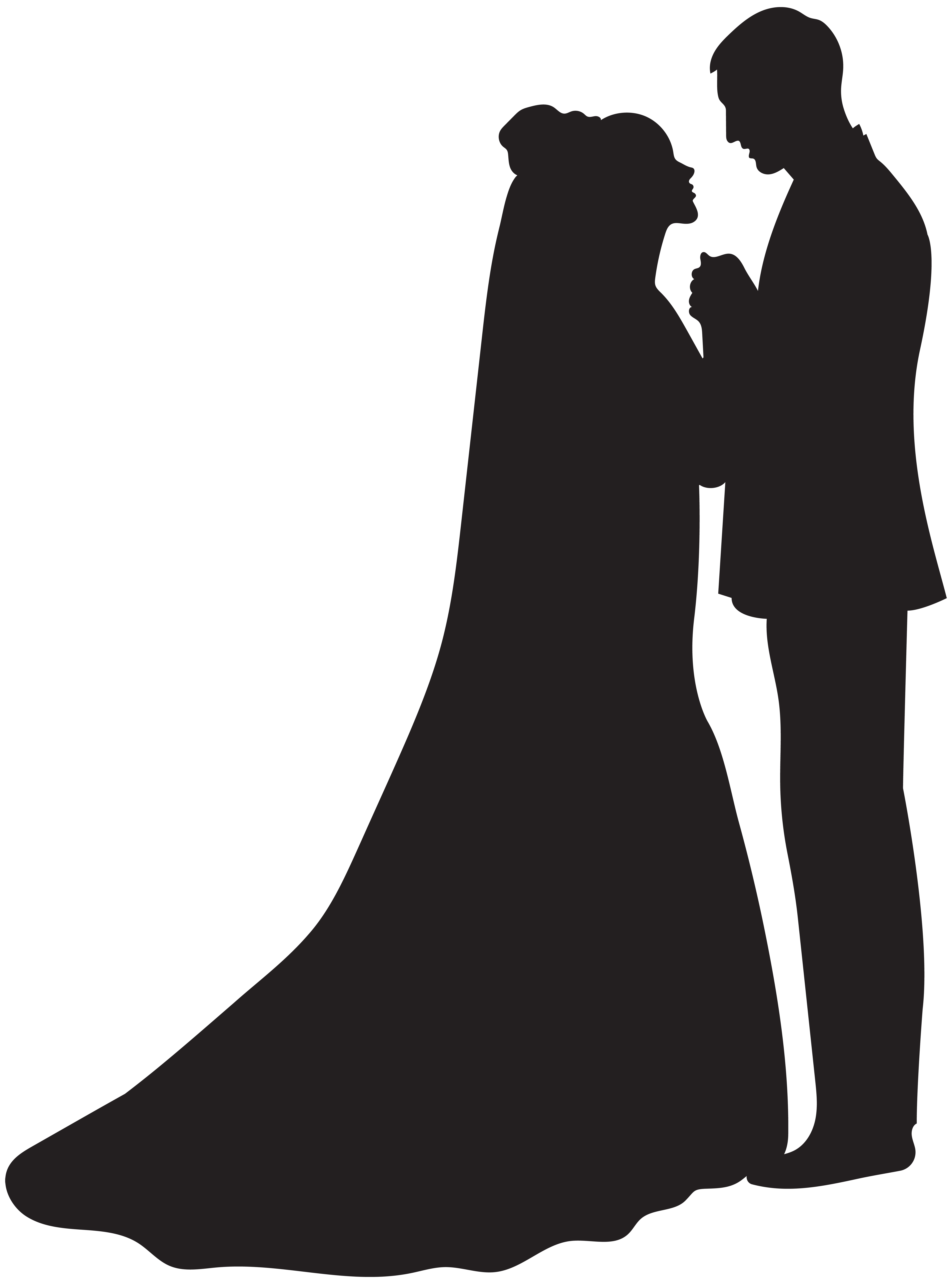 Bride and groom silhouette free clipart vector free download Bride and Groom Silhouette PNG Clip Art | Gallery Yopriceville ... vector free download