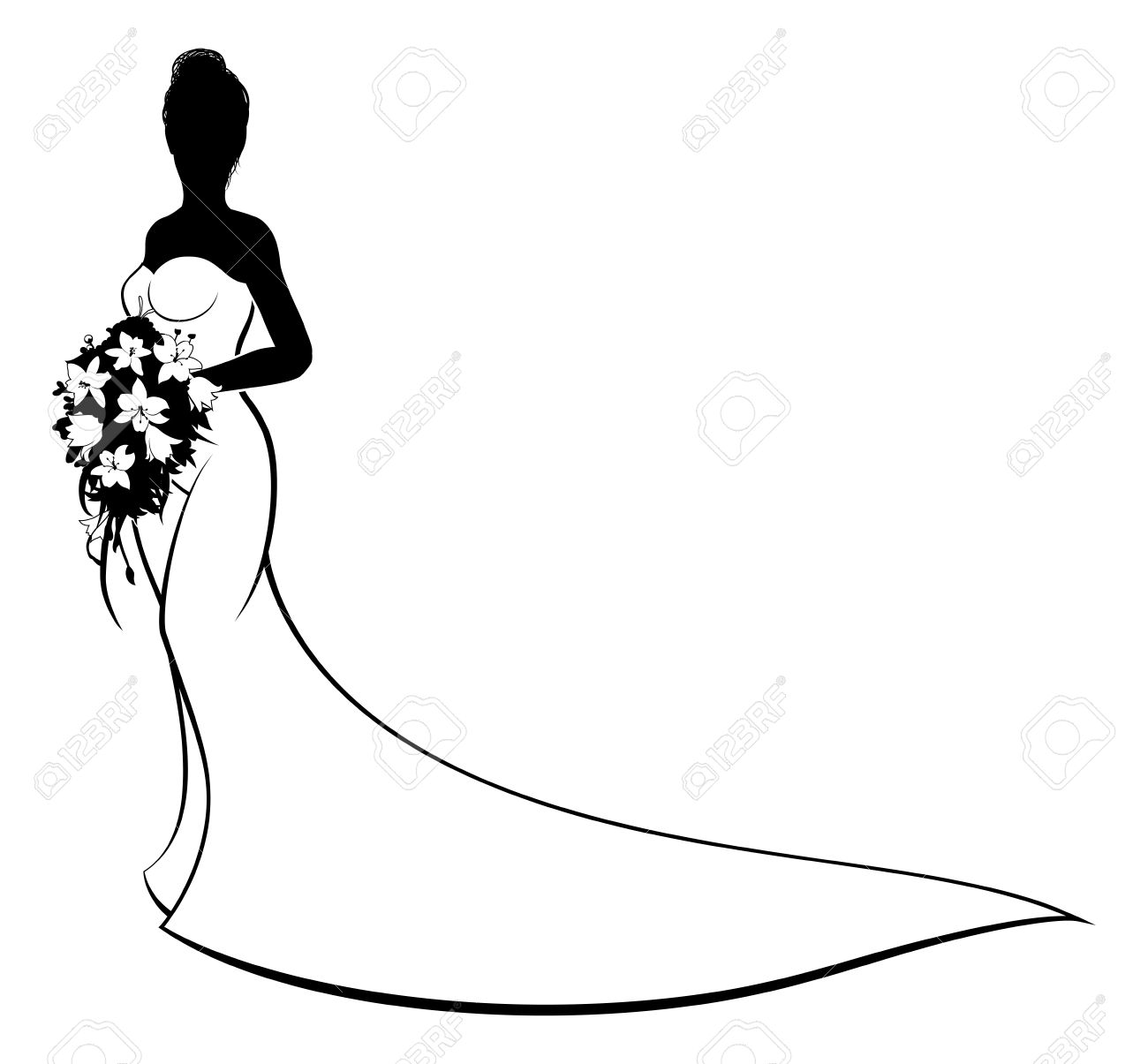 Black bridesmaid dress clipart banner transparent stock Bride Clipart | Free download best Bride Clipart on ClipArtMag.com banner transparent stock