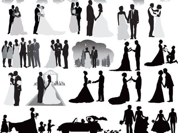 Bridal party silhouette clipart clip free Wedding Party, Wedding Silhouettes, Wedding clipart, Bride Clip Art ... clip free