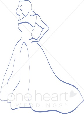 Bride with long train clipart vector black and white download Teal Bride Clipart | Bride Clipart vector black and white download
