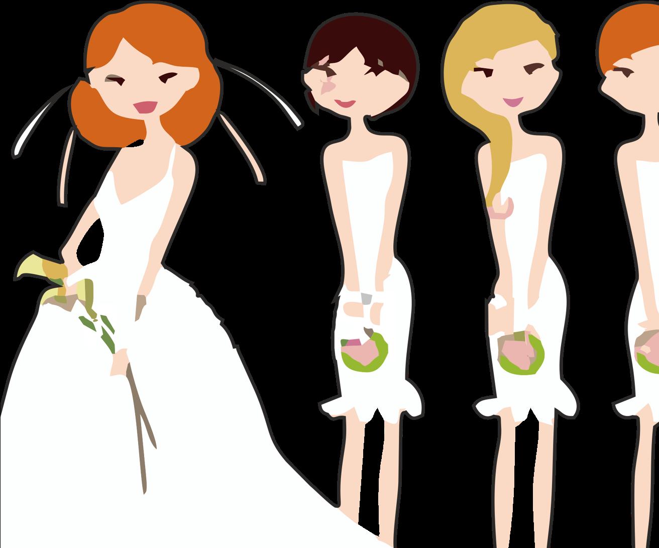 Bridesmaid clipart free png transparent HD Vector Freeuse Stock Bride And Bridesmaid Clipart - Bride And 3 ... png transparent