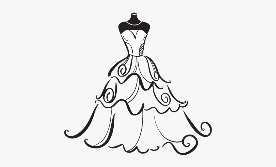 Bridesmaid dress clipart image library library Bridal Clipart Wedding Artwork - Wedding Dress Clipart Black And ... image library library