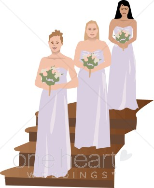 Bridesmaids clipart image freeuse library Bridesmaids Dressed in Lavender Clipart | Bridal Party Clipart image freeuse library