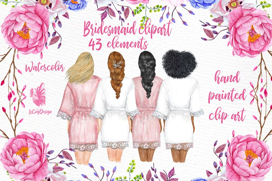 Bridesmaids clipart picture stock Bridesmaid Wedding Robes clipart ~ Illustrations ~ Creative Market picture stock