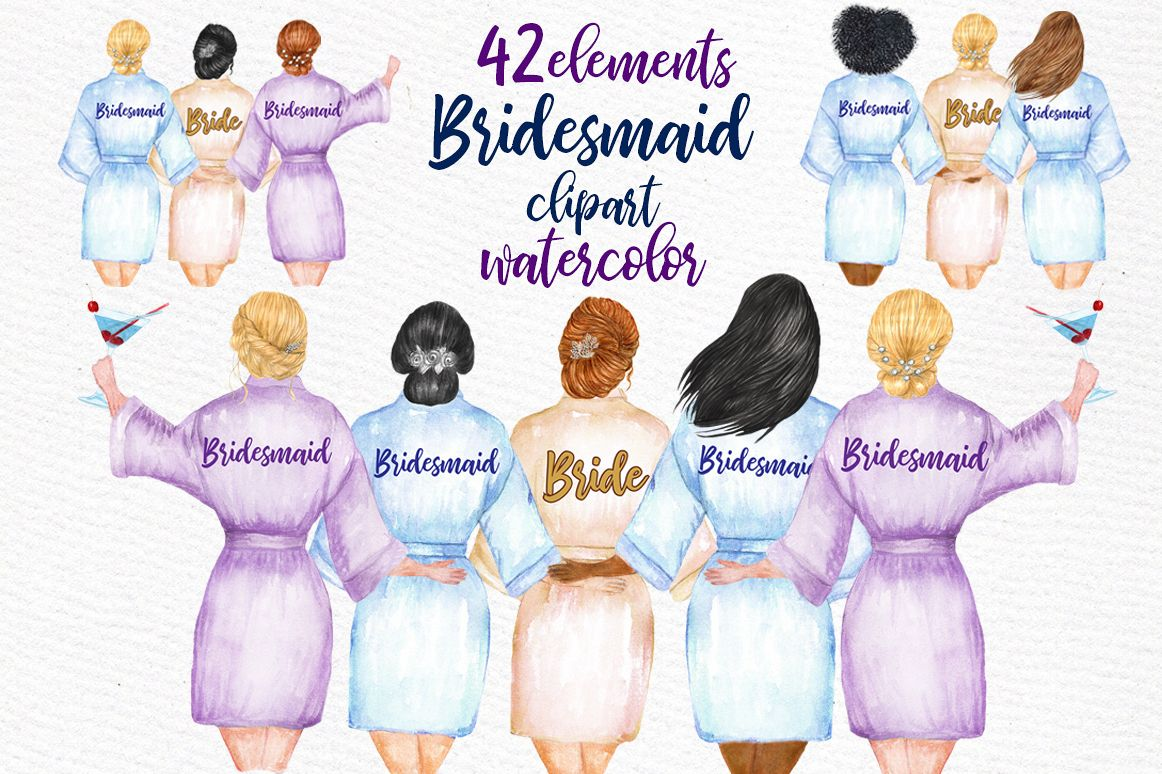 Bridesmaids clipart svg free library WEDDING ROBES CLIP ART Bridesmaid Clipart svg free library