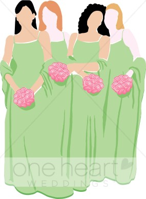 Bridesmaids clipart clip free library Bridesmaids in Green Dresses with Pink Bouquets Clipart | Bridal ... clip free library